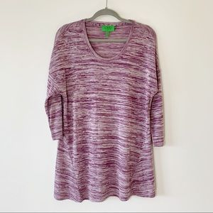 LOGO Lori Goldstein Purple Space Dyed Stripe Top M